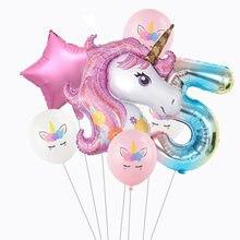 7 Pçs/set Rainbow Unicorn Unicórnio 32 polegada Número Balão Foil Balões de Festa de Aniversário Decoração Do Partido Dos Miúdos Do Bebê Chuveiro de Ar Globos