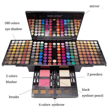 Professional 180 Colors Glitter Matte Makeup Pallete Eyeshadow &Powder Blush Palette Shine Diamond Cosmetics Kit box with mirror