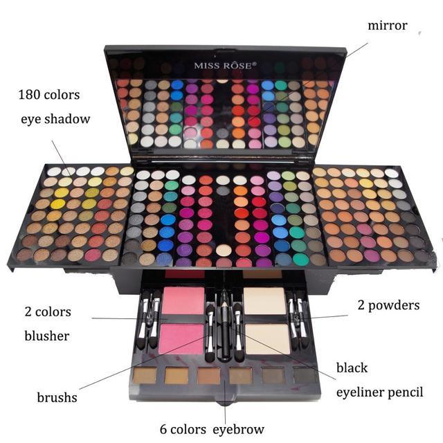 Professional 180 Colors Glitter Matte Makeup Pallete Eyeshadow &Powder Blush Palette Shine Diamond Cosmetics Kit box with mirror