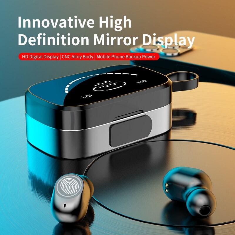 Беспроводной Bluetooth наушники V5.0 3500 mAh Зеркало зарядным устройством наушники-вкладыши TWS с In-Ear спортивные наушники, наушники с микрофоном талр...