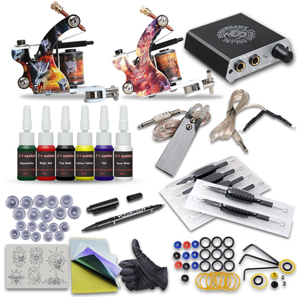 Professional Tattoo Machine Power Supply Pedal Wire Pigment Cup Handle Pen Kit Complete Tattoo Machine Set, Suitable For Home