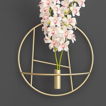 Modern Art 3D ścienny świecznik metalowy wiszący kwiat wazon świecznik wesele malarstwo dekoracja tanie i dobre opinie CN (pochodzenie) Do Montażu Na Ścianie Nowoczesne