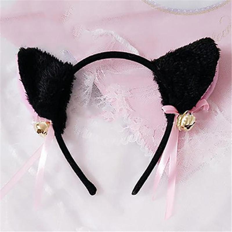 Bonito gato orelha padrão bandana para meninas cosplay hairband festa headwear moda acessórios para o cabelo