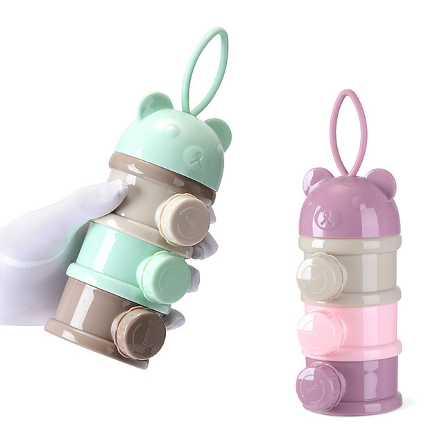 3 / 4 layers Bear Style Portable Baby Food Storage Box Essential Cereal Infant Milk Powder Box Toddle Snacks Container ZXH 2
