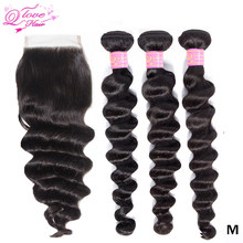 Queen Love Loose Deep Wave Bundles With Closure 8-26 Inches Peruvian Remy Hair Weave Bundles With Closure Natural Color(China)