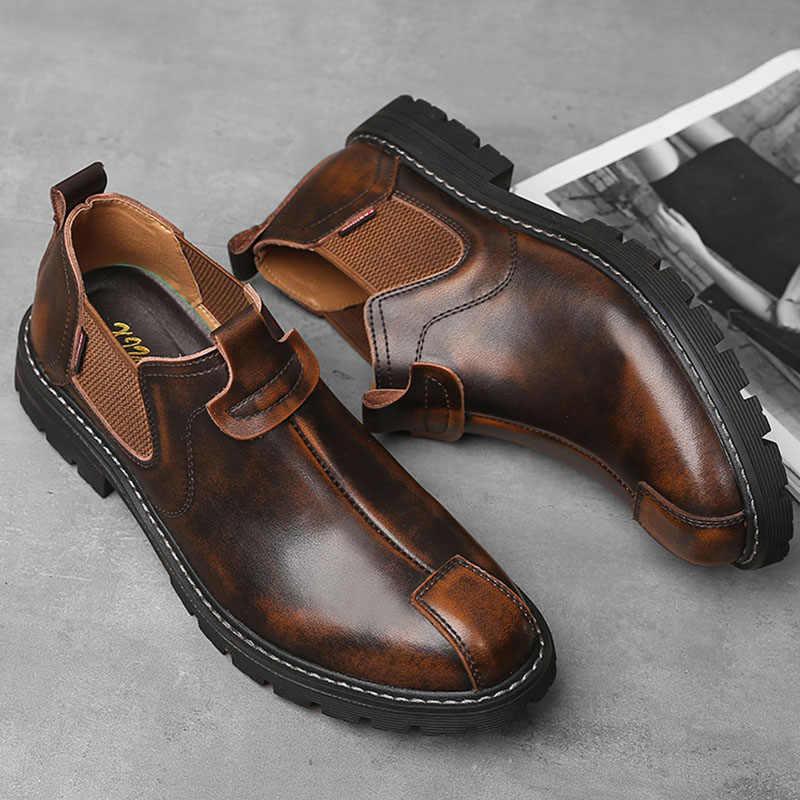 Giày Chelsea Boot Nam Da Thật Chính Hãng Da Tiến Sĩ Xe Máy Giày Chống Nước Nam Giày Bốt Martin Vintage Mùa Thu Cổ Chân Giày Nam