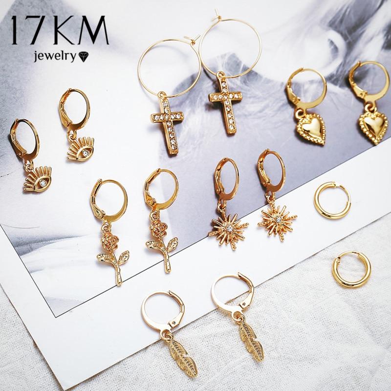 17KM Vintage Gold Flower Drop Earrings For Women 2019 Mixed Eyes Cross Star Circle Geometric Earring Set Boho Female Jewelry