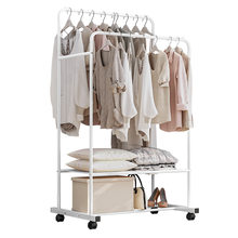 Drying Rack Floor Bedroom Folding Indoor Simple Coat Rack Balcony Hanger Double Pole Household Drying(China)