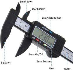 HKFZ 150mm 6 Inch LCD Digital Electronic Carbon Fiber Vernier Caliper Gauge Micrometer Measuring Tool Digital Tools Calipers