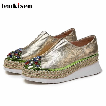 Lenkisen shiny crystal round toe thick bottom cow leather loafers shoes slip on campus women spring cozy vulcanized shoes L07