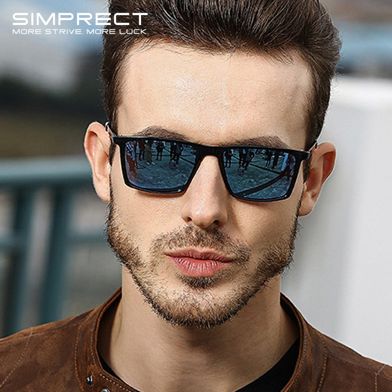 SIMPRECT Polarized Sunglasses Men 2020 Mirror Square Sunglasses For Men Retro Vintage Sun Glasses Anti-Glare Driver'S Oculos