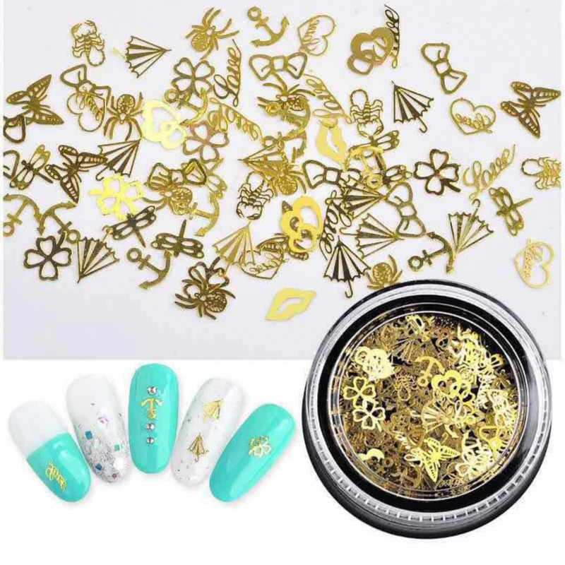 1 BOX Hollow Out Oro Glitter Per Unghie Paillettes Fiocchi di Neve Misto Decorazioni di Design Per Le Arti del chiodo Pillette Accessori Del Chiodo
