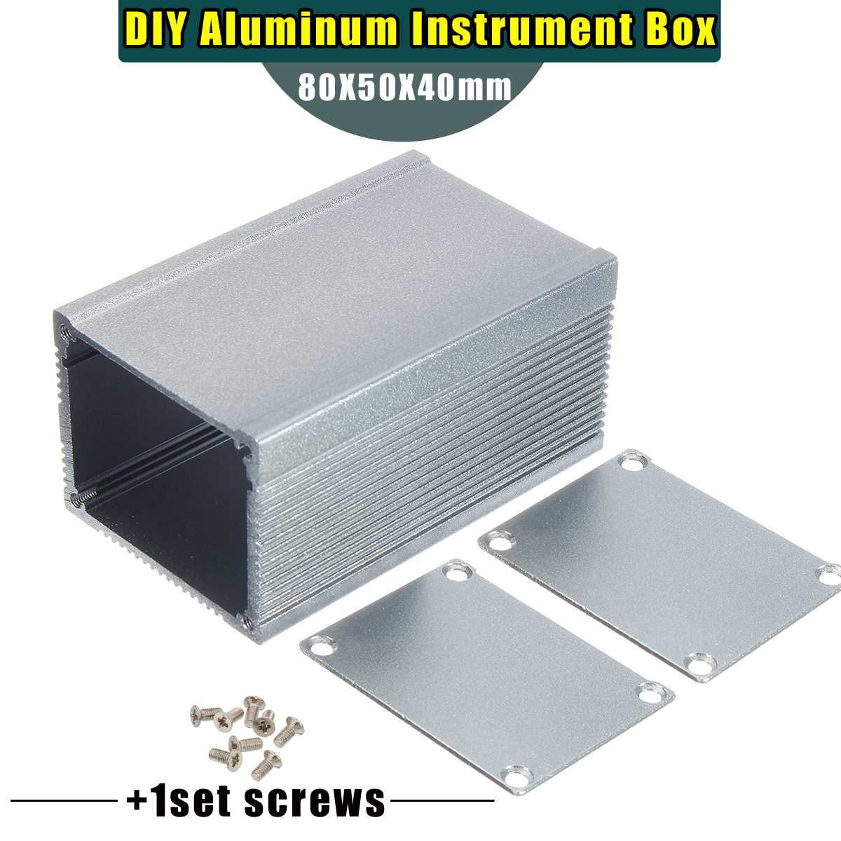 1x 80X50X40mm DIY Electronic Components Aluminum PCB Instrument Enclosure Case Electronic Project Box With 1 Set Screws NEW