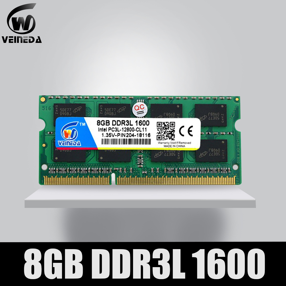 VEINEDA ordinateur portable Ram DDR3L 4GB 8GB 1600 PC3-12800 204PIN mémoire DDR3L 1333 PC3-10600 Sodimm Ram Compatible Intel ddr3 carte mère