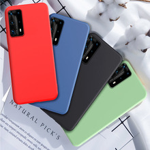 for Huawei P40 P30 P20 Lite Case Liquid Silicone Soft Cover for Huawei P40 P30 Lite Mate 20 30 Pro Honor 8X V30 Nova 6 9X Case hit color frosted case for huawei p40 pro mate30 mate 30 pro p30 pro luxury shockproof case for honor v30 pro soft silicone new