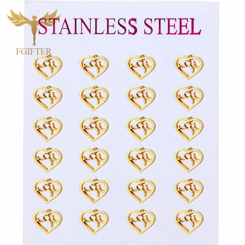 Love Heartbeat Stainless Steel Stud Earrings 12 Pair Sets Earrings Wholesale Gold Stainless Steel Jewelry