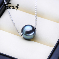 FENASY New 9 10mm Tahitian Sea Black Pearl Necklace 925 Silver Chain Custom Necklace Pearl Pendant Necklace for women love