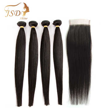 JSDShine Straight Human Hair Bundles With Closure Peruvian Hair Weave Bundles With 4x4 Lace Closure Non Remy Hair Extensions - DISCOUNT ITEM  70% OFF All Category
