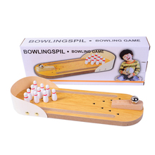 Mini Bowling Board Game Wooden Childrens Puzzle Innovation Toys Real Parent-child Fun Ball