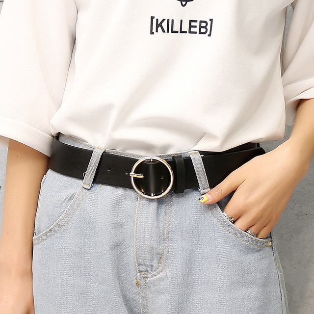 Fashion Classic round buckle Ladies wide belt