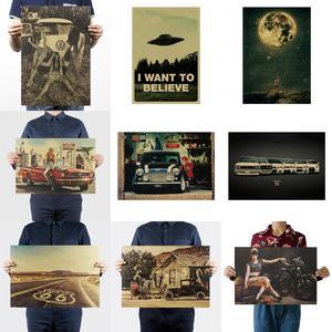 Image 2 - О дизайне Life Beauty/научное воображение/настенные наклейки/крафт бумага/плакат для бара/ретро постер/декоративная роспись 51x35.5 см