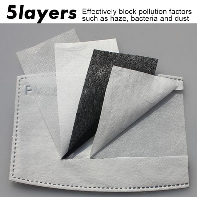 10 pieces 5 Layers PM2.5 KN95 Activated Carbon Filter for Mouth Mask Dust Mask Filter Protective Filter Media Flu-proof Filter 1
