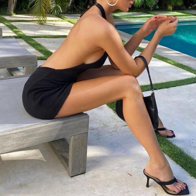 2021 Halter Sexy Backless Mini Dresses Bodycon Skinny Club Party Sleeveless Knitted Dress Fall Streetwear Beach Holiday 5