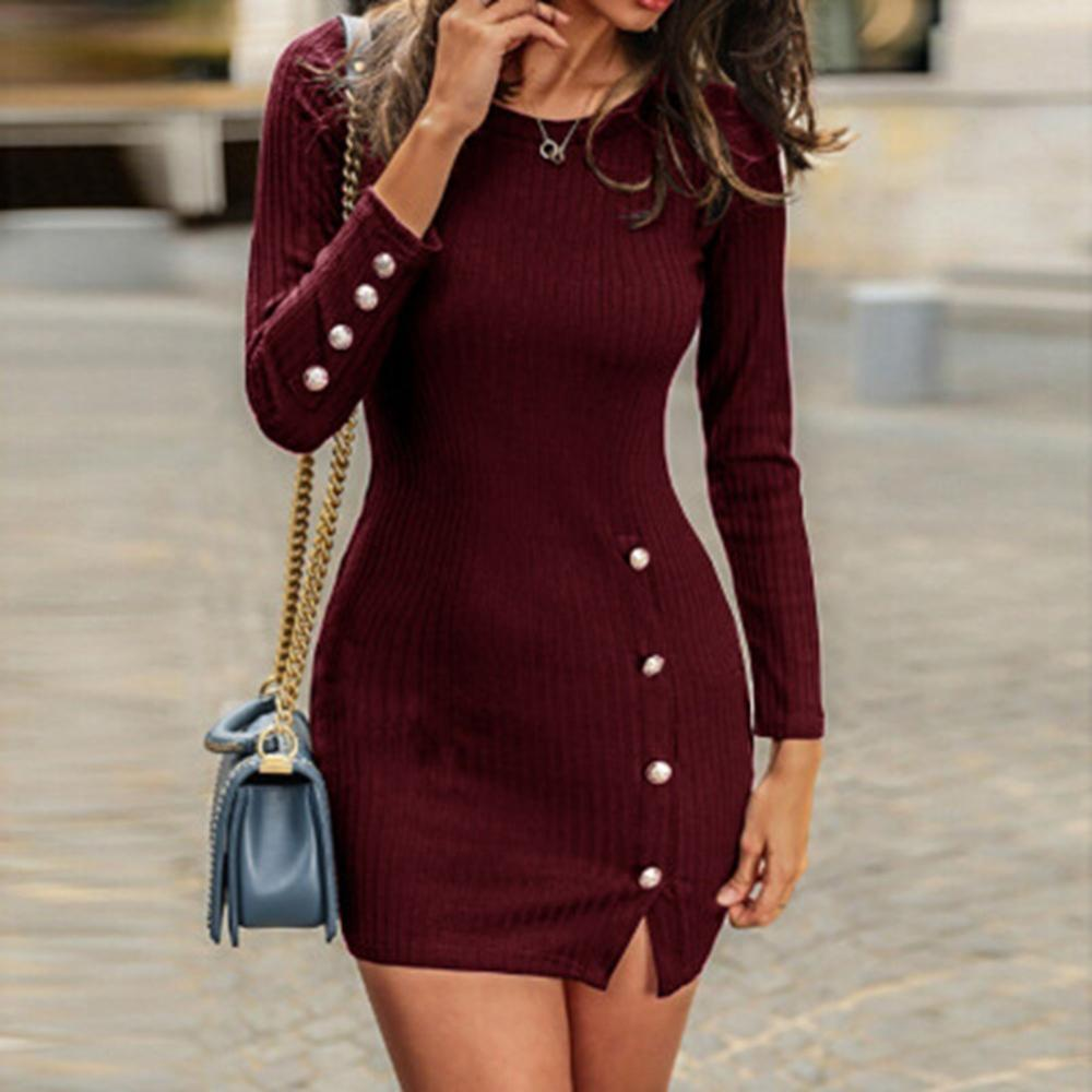 Autumn And Winter New Women Button Sexy Bag Hip Long Sleeve Dress Lady Solid Round Neck Slim Dress