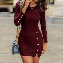 Autumn And Winter New Women Button Sexy Bag Hip Long Sleeve Dress Lady Solid Rou