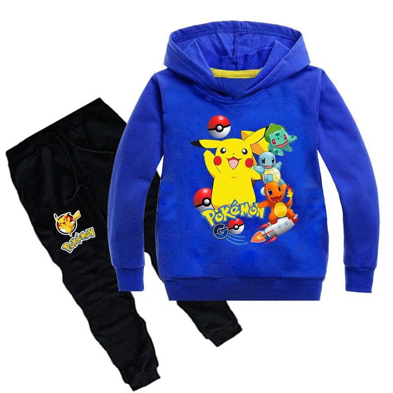 Pikachu Print Boys Clothing Sets Kids Pokemon Cotton Clothes 2pcs Hoodies Shirts+long Pants Cartoon Baby Girls Sports Suits