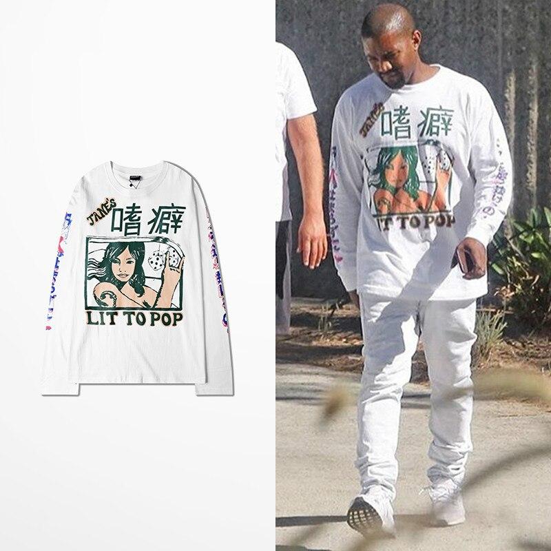 US $15.18 35% OFF|Kanye West Coast T Shirt Long Sleeve Men Hip Hop High Street Lit To Pop Tane's Print Vikings T shirt Drake Souls Tee Shirt Homme|tee