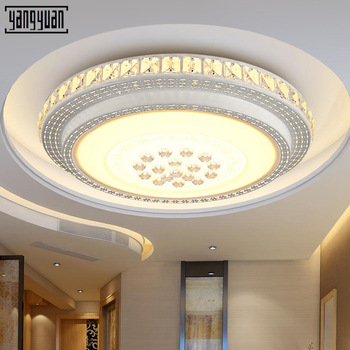 Crystal Modern LED Ceiling Lights For Living Room Bedroom Home Lighting Fixtures Remote Dimming Acrylic Ceiling Lamp Round Light