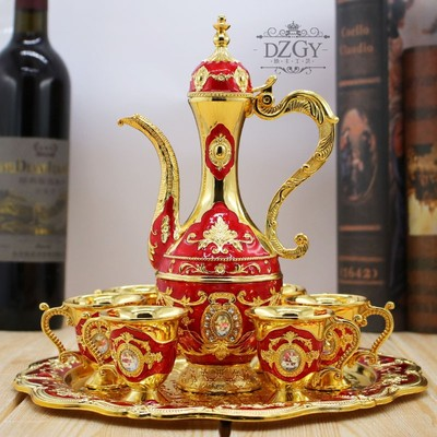 European-style vintage Russian wine set white wine cup creative european-style metal wine pot dispenser high-end decoration
