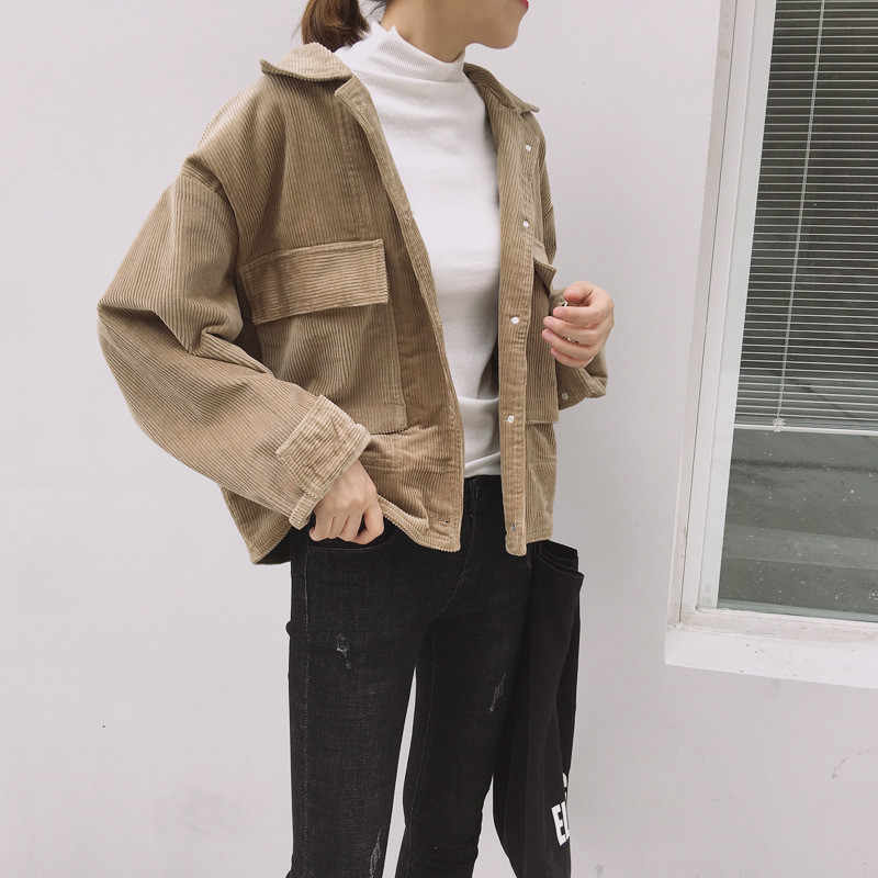 Vintage 2019 Harajuku Corduroy Jassen Vrouwen Winter Herfst Losse Jassen Overjassen Vrouwelijke Tops Leuke Jassen Effen Kleur Kleding