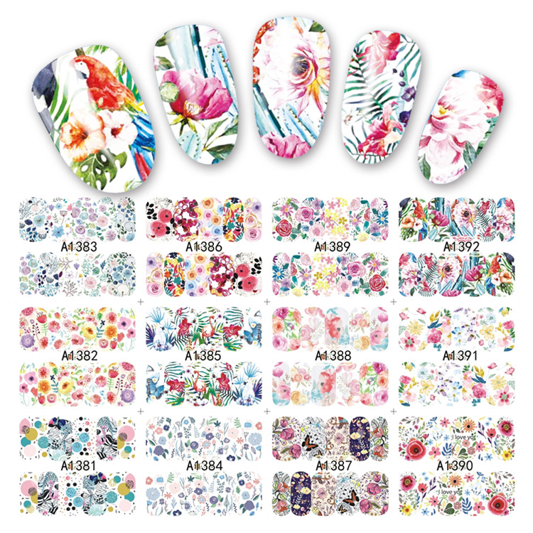 YZW12-in-One 2017 New Style Water Transfer Adhesive Paper Flower Fruit Beverage Cute Manicure Pregnant Women Children Stickers