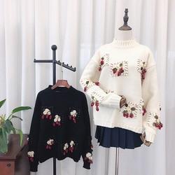 2019 herbst Und Winter Neue Stil Handgemachte Stereo Erdbeere Crew Neck Pullover Wolle Pullover Schwarz Und Weiß mit Muster Weiß W