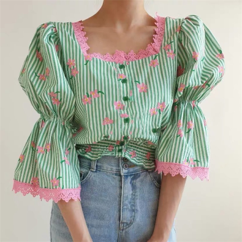 Alien Kitty Spring Sweet Flare Sleeves Geometric Flowers Printed Striped New Chic 2020 Loose Office Lady Women Slim Hot Shirts