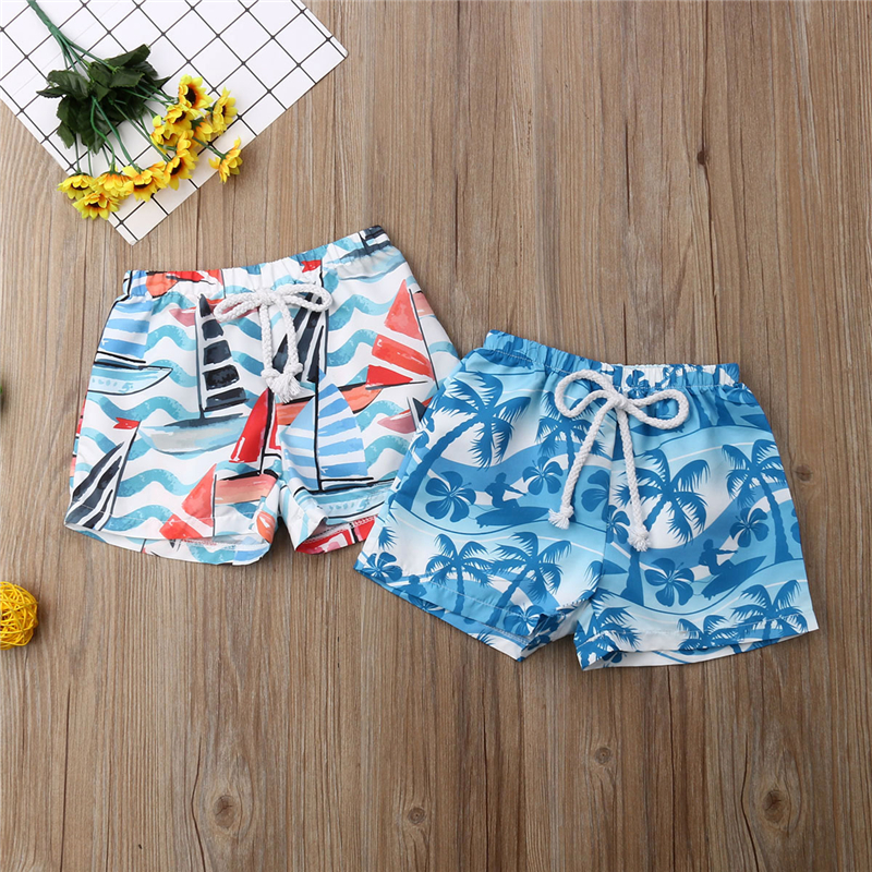 Kid Baby Boys Hawaiian Beach Shorts Elastic Waist Short Trunk Summer Boy Swimwear Beachwear Swimming Beach Shorts Bathing Suit