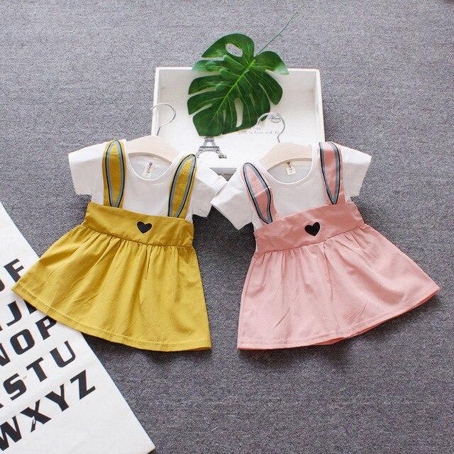 3 M-2 T letnie ubrania dla niemowląt noworodek dziewczynka sukienka odzież-line Mini sukienka księżniczka ucho królika sukienka kreskówka suknia wieczorowa