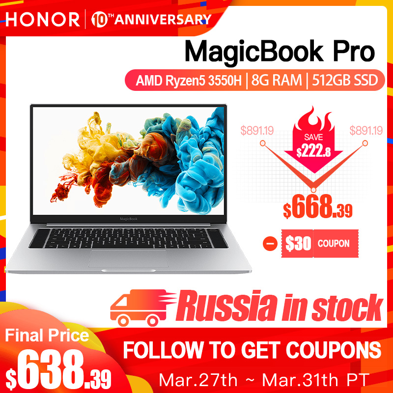 HUAWEI HONOR MagicBook Pro 2019 Laptop komputer przenośny (AMD Ryzen R5 3550H 8GB RAM/512G SSD/16.1 ''IPS 100% sRGB) title=