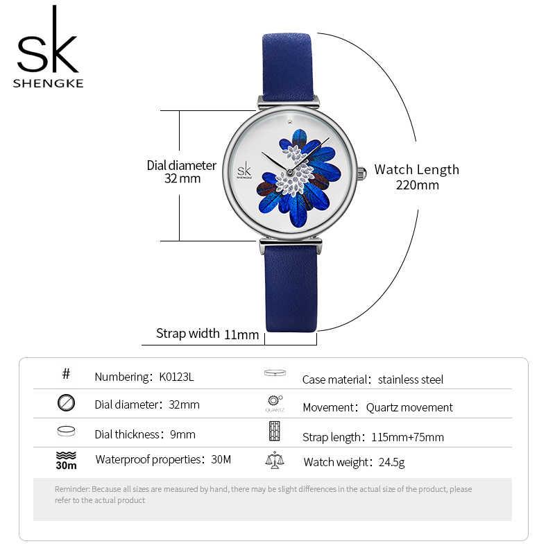 Shengke женские часы Лидирующий бренд Роскошные наручные часы с кожаным ремешком для женщин Стильные кварцевые женские часы с синими перьями