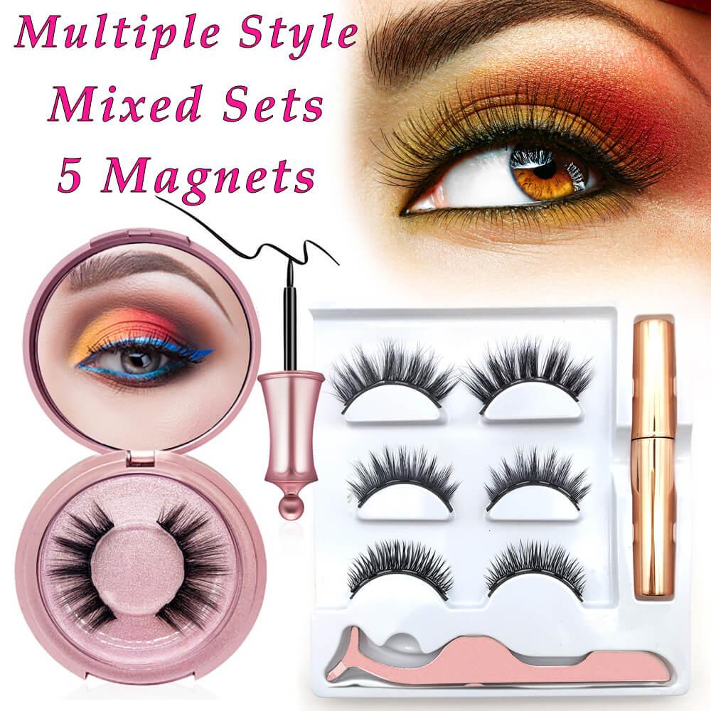 Waterproof Magnetic Eyelashes 5 Magnets Eye Eyeliner Liquid Set No Glue False Mink Extension Kit 3D Individual Reusable Eyelash