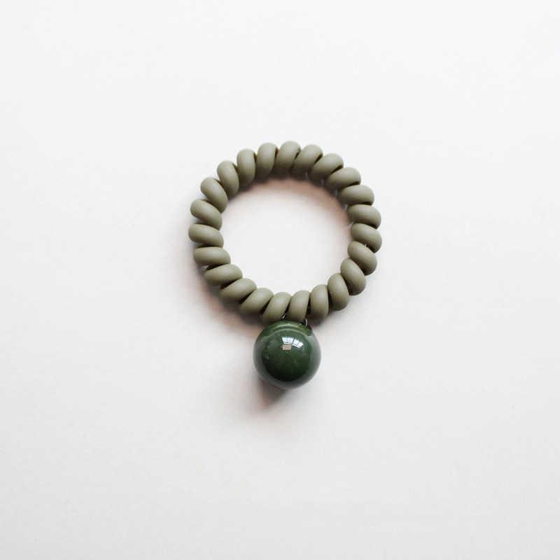ฤดูใบไม้ผลิและฤดูร้อนใหม่หวาน Frosted ยางสีสายโทรศัพท์แหวนผมน่ารัก Ball จี้เชือกผมใหม่มาถึง