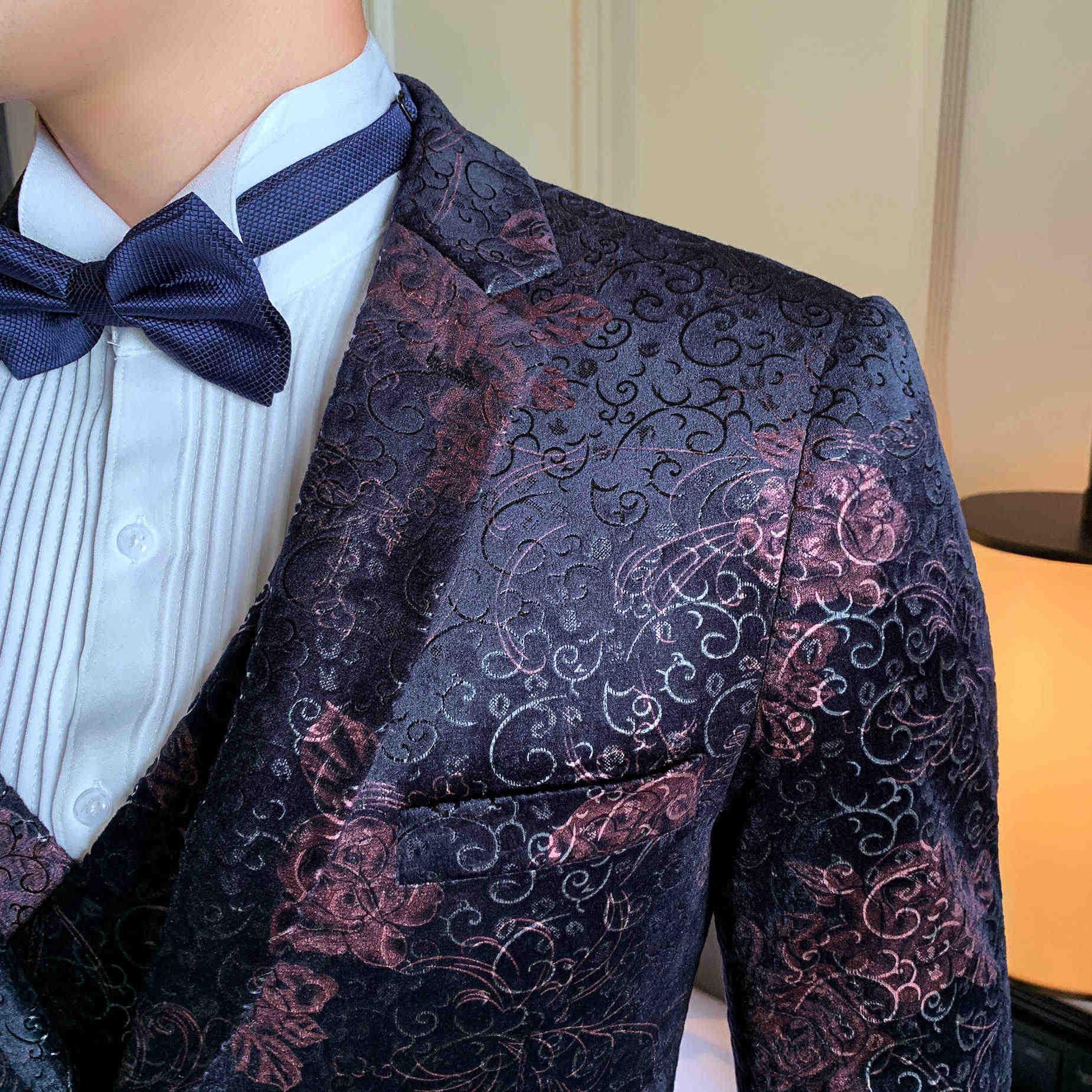 Traje de boda de un botón para hombres trajes de negocios hombres S-3XL nuevo ajustado Fit Casual 3 piezas hombres traje de vestir esmoquin de fiesta de noche