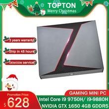 TOPTON yeni oyun Mini PC Intel çekirdek i9-9880H GTX 1650 4GB GDDR5 2 * DDR4 64GB Windows 10 4K HDMI DP tipi-C WiFi masaüstü bilgisayar