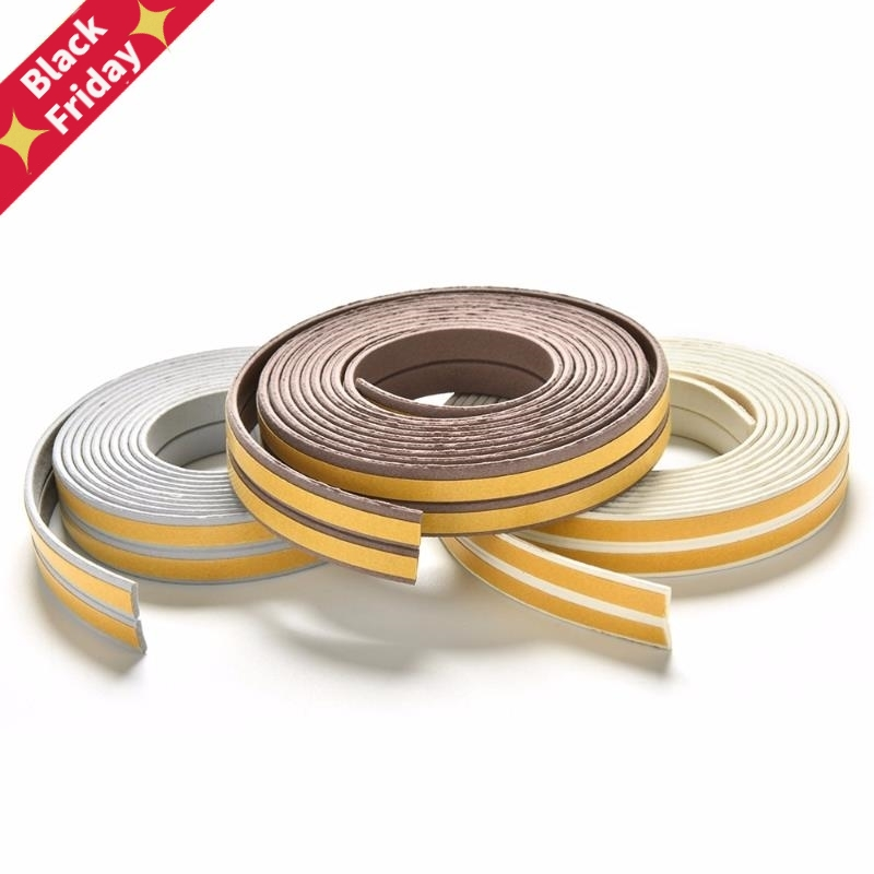 2.5M Self Adhesive D Type Doors and for Windows Foam Seal Strip Soundproofing Collision Avoidance Rubber Seal Collision