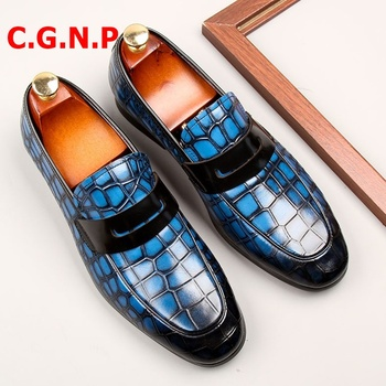 C·G·N·P Mocasines Hombre Men Shoes Crocodile Pattern Genuine Leather Loafers Men Dress Shoes Blue Penny Loafer Mens Prom Shoes c g n p casual shoes men genuine leather loafers handmade office formal wedding shoes men dress shoes slip on mens loafer shoes