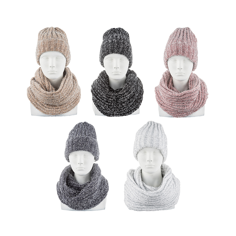 2019 Autumn Winter Hat-scarf Set, Soft, Light,AMM-CASET2804