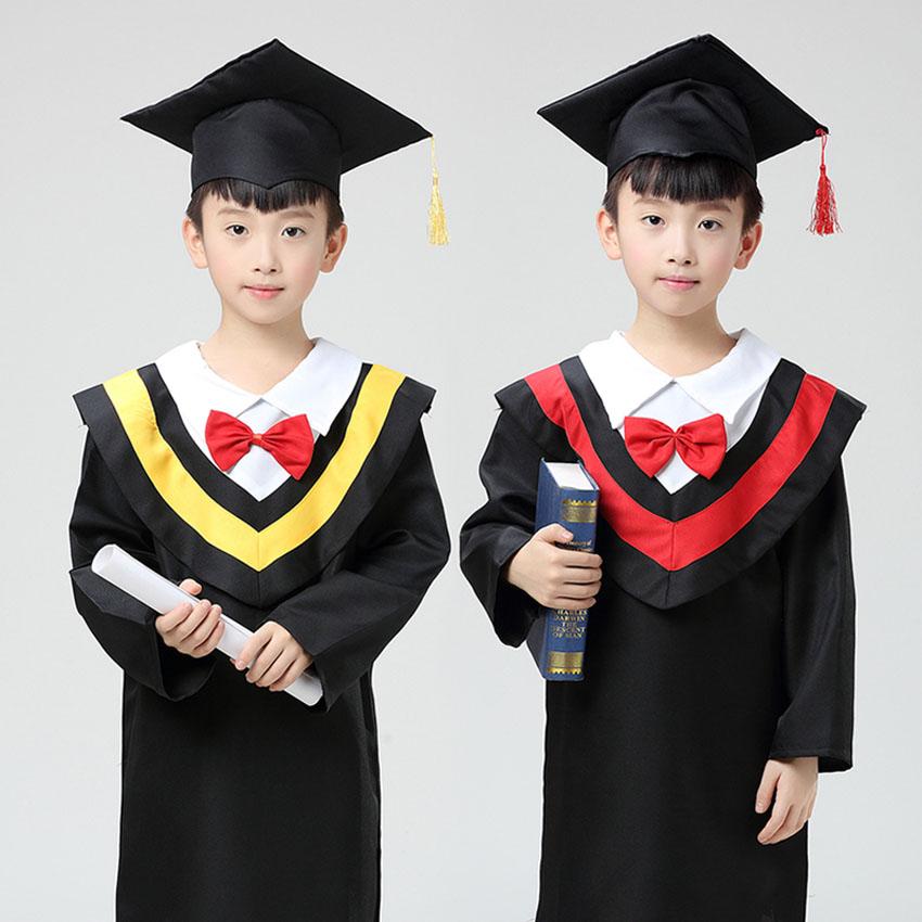 Children Bachelor Gown Graduation Party Wear Primary School Student Uniform Dresses Boys Photography Props Girls Dance Costumes