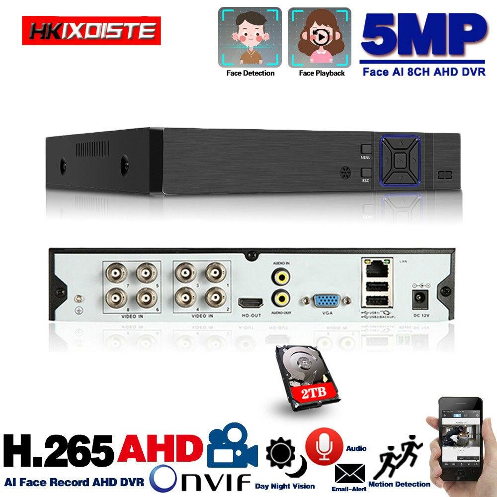 8 kanałowy AHD wideorejestrator H.265 5MP 4MP 1080P 5 w 1 hybrydowy rejestrator 8ch Wifi XVi TVi CVI IP NVR dla domu kamera telewizji przemysłowej Surveillanc
